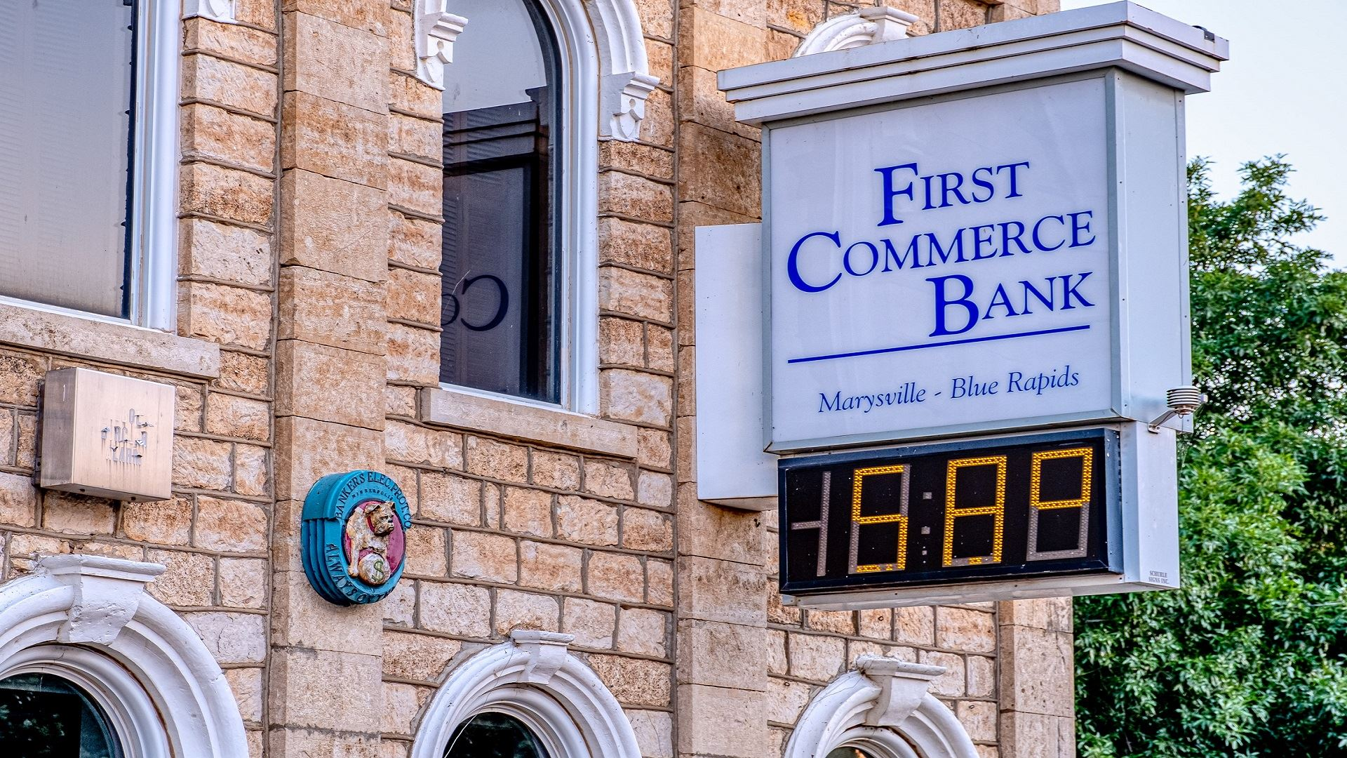 First Commerce Bank building and sign